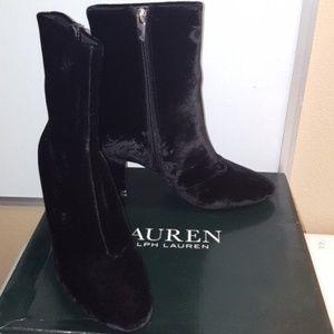 Ralph Lauren Black Velvet Boots 7.5M